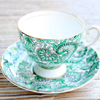 English Footed Cup And Saucer Green Paisley Royal Tuscan/Made in England Fine Bone China/Wedgewood Group/Tea Party/Tea Coffee