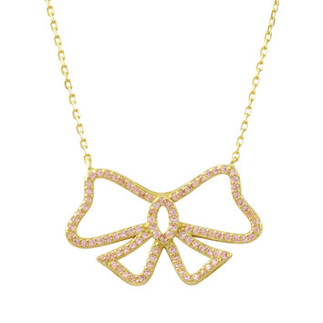 Gold Plated Sterling Silver, Pink CZ Open Bow Necklace