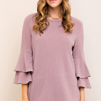 Mauve Soft Ribbed Top