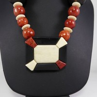 Red Apple Coral Beaded Necklace with Black and White Beads, Inset Black, Red Coral & White Mosaic Pendant, Vintage 1970s 1980s Retro Jewelry