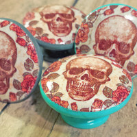 Skull and Roses Knob Drawer Pulls, Handmade Floral Cabinet Pull Handles, Skeleton Dresser Knobs, Spooky and Beautiful Knobs, Made to Order