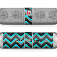 The Turquoise-Black-Gray Chevron Pattern Skin for the Beats by Dre Pill Bluetooth Speaker
