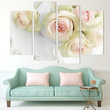 4 Panel Beautiful Pink Roses Flower Floral Print Painting Modern Canvas
