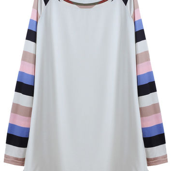 Colored Striped Long-sleeved T-shirt