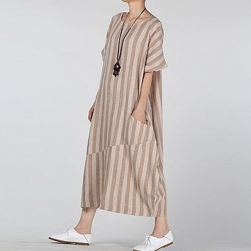 CELMIA Retro Women Round Neck Short Sleeve Long Kaftan 2018 Summer Casual Cotton Linen Pockets Striped Office Ladies Maxi Dress