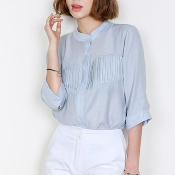 Womens Blue Career Mandarin Collar Pleated Shirts Blouses Korean Style
