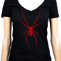 Red Print Black Widow Spider Women's V-neck Shirt Top Gothic Clothing