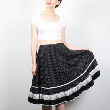 Vintage 70s Skirt Black White Square Dancing Skirt Midi Skirt Polka Dot Print Lace Ruffle Knee Length Skirt 1970s Prairie L XL Extra Large