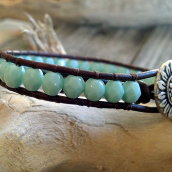 Leather Wrap Turquoise Bracelet, Southwestern Chic, Boho, Mothers Day Gift