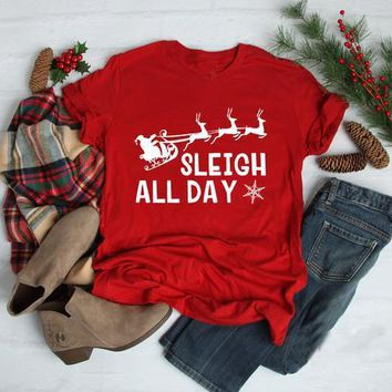 Summer Slogan Graphic Casual Tee Sleigh all day T-Shirt Christmas Funny Santa Tops Family Holiday Grunge t shirt Gift Camisetas