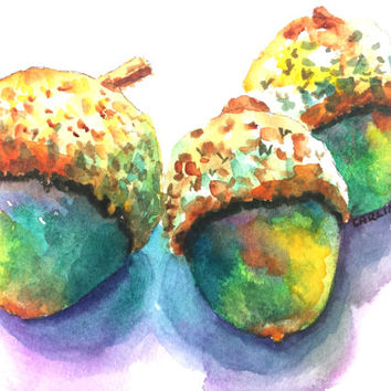 Acorn Original Watercolor Painting, 5x7, Autumn, Fall, Seasonal, Thanksgiving, Oak tree nuts, colorful, three, close up