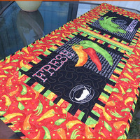 Quilted Caliente Peppers Table Runner Quilt Black 768