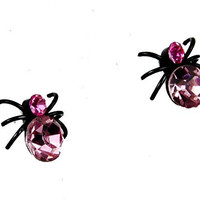 Pink Stone Black Widow Spider Stud Earrings Elegant Lolita Style Cosplay