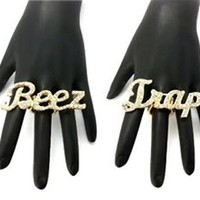 NEW ICED OUT CELEBRITY STYLE BEEZ & TRAP STRETCH BASE FASHION RING - MR30/1