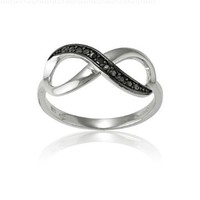Sterling Silver Black Diamond Infinity Figure 8 Ring. Available in sizes 5 - 5.5 - 6 - 6.5 - 7 - 7.5 - 8 - 8.5 - 9 - 9.5 - 10 **SUMMER SPECIAL!**:Amazon:Jewelry