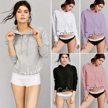 """Calvin Klein"" Crop Top Long Sleeve Hoodies"