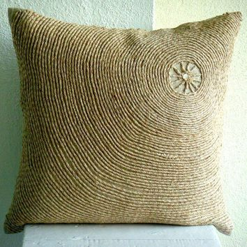 Back To Earth - Throw Pillow Covers - 18x18 Inches Linen Pillow Cover with Jute Embroidery