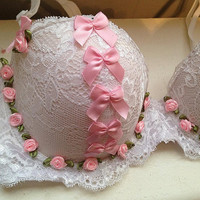 prettygirlsale lolita roses bows and lace ddlg bra