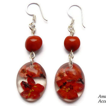 15% OFF VDAY SALE Red real flower earrings. Red dangle earrings. Botanical jewelry. Seed earrings. Gift for sister. Dried flowers in resin.