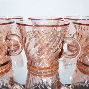 Vintage Depression Glass Pink Imperial Twisted Optic Teacups, Pink Depression Glass Teacups, Twisted Optic