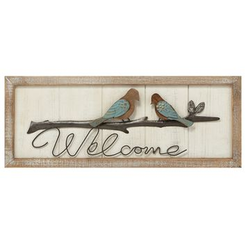 Birds on Branch' Welcome Wall Art Multicolor