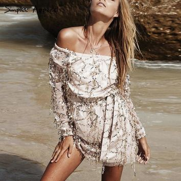 Sequins Off Shoulder Long Sleeves Short Dress