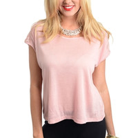 Cap Sleeve Knit Top with Lace Yoke