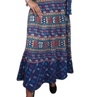 Sexy Wrap Skirt Blue Cotton Printed Hippie Boho Wrap Around Skirts Dress