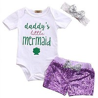 Baby Girl Romper+Sequins Shorts Outfits Sequins Headband Clothes Set