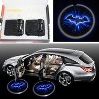 2x Night Cold Blue bat batman Black Wireless car door LED projection projector light courtesy welcome logo shadow ghost light laser projector Magnet Sensor Easy installing