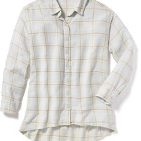 Old Navy Plaid Hi Lo Button Front Shirt For Girls