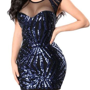 Fashion Navy Blue Sequin Mesh Cutout Sexy Mini Club Dress