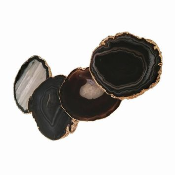 Black Agate Coaster (Set of 4) ~ 24K Gold Finish