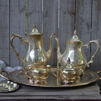 Tea Set, Tea Service, Coffee Tea Service, Silver Plate, Silverplate, Silver Plated, Rogers