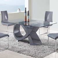 Global Furniture USA 989DT Rectangular Glass Top Dining Table in Grey High Gloss