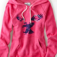 AEO Women's Signature Graphic Hoodie (Pink Passion)