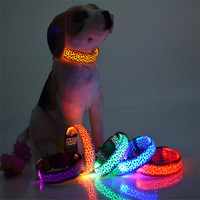 Solid Color Nylon Band Dog Pet Led Flashing Collar Night Light Up Lead Necklace Adjustable S M L Various Colors
