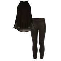 River Island Girls black chiffon top and legging outfit
