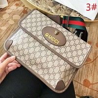 GUCCI High quality new fashion leather more letter print metal leopard head couple shoulder bag