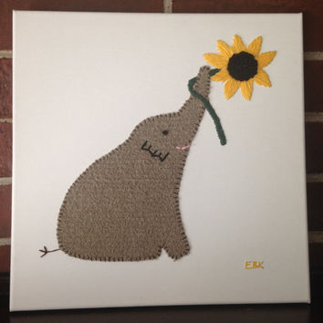 Elephant with Flower #3 Fabric Wall Art