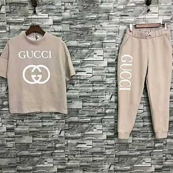 GUCCI Fashion New Letter Print Sports Leisure Short Sleeve Top And Pants Two Piece Suit