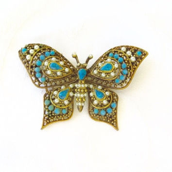 Vintage Butterfly Brooch Pin Turquoise Seed Pearls Filigree Beauty
