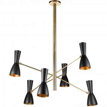 WORMHOLE 6-ARM CEILING LAMP - BLACK/GOLD
