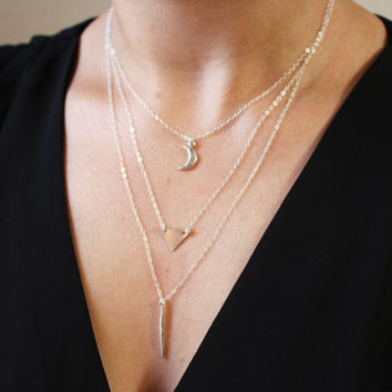 Moon Necklace Set / Set of 3 Delicate Layered Necklaces / Sterling Silver Necklace Set