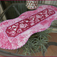 Quilted Table Runner Quilt Valentine Sweethearts 692