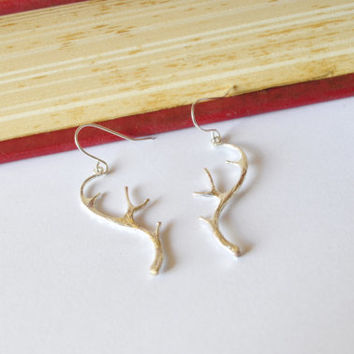 Silver brass deer antlers earrings. Woodland. Winter, nature inspired. Grecian jewelry. Goddess. Aesop Fables. The Stag at the Pool.