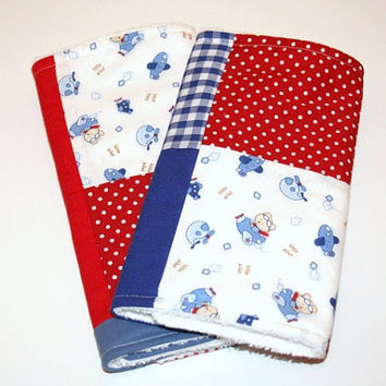 Patchwork Baby Boy Burp Clothes, Modern Burp Cloths, Red Navy Cotton Burpies, New Baby Gft, Teddy Bear Baby Wipes, Blue Gingham Burp Rags