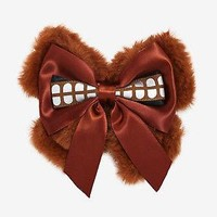 Licensed cool Disney Loungefly Star Wars Chewbacca Wookie Brown Fuzzy Cosplay Hair Bow Pin NWT