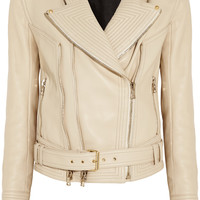 Balmain - Rib-paneled leather biker jacket
