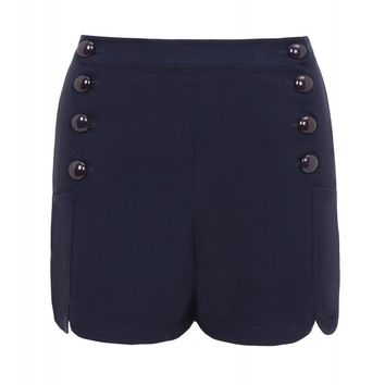 Voodoo Vixen Women's Tanya - Scalloped Button Front Shorts - Navy
